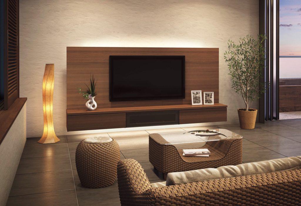 壁付けのテレビボード